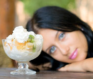 Portrait girl and dessert Royalty Free Stock Image