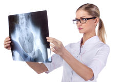 Portrait of girl doctor ECG, X-ray Stock Photos