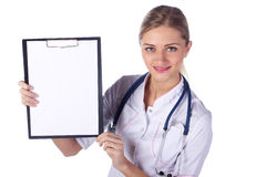 Portrait of girl doctor with folder Stock Images