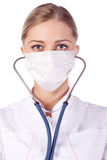 Portrait of a girl doctor in a mask Stock Photography