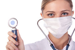 Portrait of a girl doctor in a mask Stock Photo