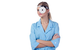 Portrait of a girl doctor in a mask. Stock Image