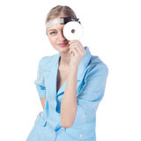Portrait of a girl doctor in a mask Stock Images