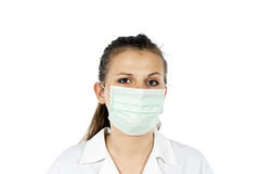 Portrait of a girl in the doctor's mask Stock Photography