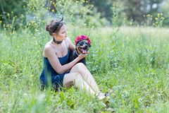 Portrait of a girl and a dog Stock Image