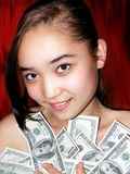 Portrait of the girl with dollar Stock Photo