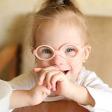 Portrait of a girl with Down syndrome Royalty Free Stock Photos