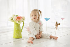 Portrait of a girl with Down syndrome. Portrait of a baby girl with Down syndrome Stock Image