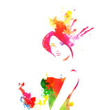 Portrait of girl drawing by water color splashes  Stock Image