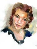 Portrait of the girl, drawn by watercolors Stock Photo