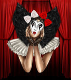 Portrait of girl dressed as a jester clown royalty free illustration