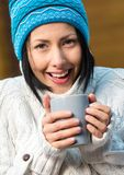 Portrait of girl drinking tea Stock Photography