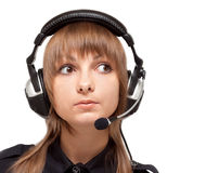Portrait of the girl in earphone with mike Stock Photos