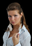Portrait of the girl with earrings Royalty Free Stock Photo
