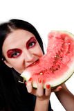 Portrait of a girl eating a watermelon Royalty Free Stock Images