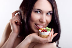 Portrait of girl. Emotions. Cake. Stock Images