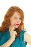 Portrait girl evil thinking with red hair Royalty Free Stock Photography