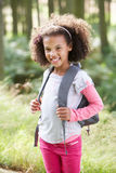 Portrait Of Girl Exploring Woods Stock Images
