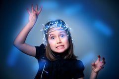 Portrait of girl with fairy lights Royalty Free Stock Photo