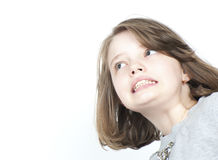Portrait of a girl falling in an unusual perspective. Royalty Free Stock Photos