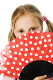 Portrait of the girl with a fan. Royalty Free Stock Image
