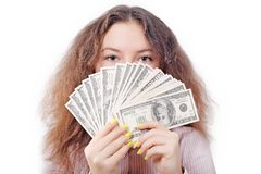 Portrait of a girl with a fan of money Royalty Free Stock Photography