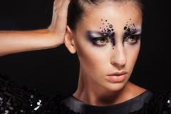Portrait of girl with fashion creative makeup Royalty Free Stock Photography