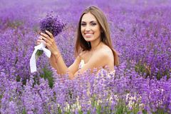Portrait of girl with fashion makeup at lavender Royalty Free Stock Photography