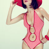 Portrait of a girl in fashionable swimsuit Stock Image