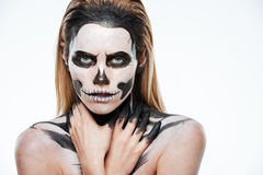 Portrait of girl with fearful skeleton makeup Royalty Free Stock Photography