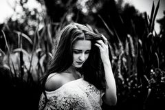 Portrait of a girl in a field, fine art, black and white photos Stock Images