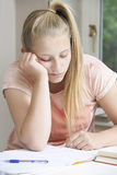 Portrait Of Girl Finding Homework Difficult Royalty Free Stock Images