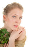 Portrait of a girl with a flower Stock Photo