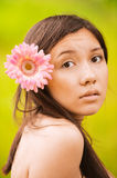Portrait of girl with flower Stock Photos