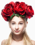 Portrait of a Girl with Flower Arrangement on Head Royalty Free Stock Photo