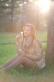 Portrait of a girl with flower dandelion Stock Photo