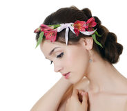Portrait of girl with flowers Royalty Free Stock Photos