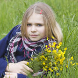 Portrait of a girl with flowers Stock Photography