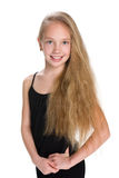 Portrait of a girl with flowing hair. A portrait of a girl with flowing hair on the white background Royalty Free Stock Photo