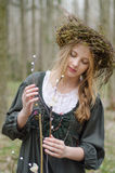 Portrait of a girl in a folk medieval style with a circlet Stock Photography