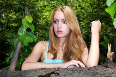 Portrait of the girl  in forest Royalty Free Stock Photos