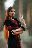 Portrait of girl in forest with owl in hand. Close-up. Royalty Free Stock Image