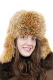 Portrait of girl in fox cap Royalty Free Stock Photo