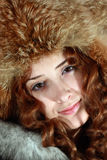 Portrait of girl in fox cap Stock Photos