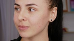 Portrait of a girl without makeup stock video footage