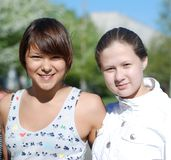 Portrait of girl-friends;. The photo is made in 2009 Royalty Free Stock Image