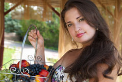 Portrait of girl with fruit royalty free stock photos