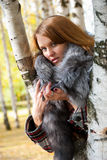 Portrait of a girl with a fur collar Stock Photography
