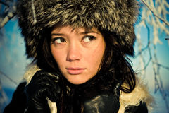 Portrait of a girl in a fur hat Stock Photo