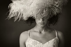 Portrait of a girl with a fur hat Royalty Free Stock Image